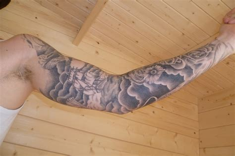 shaded sleeve tattoos designs sleeve ideas cloud sleeve