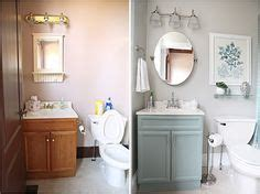 our powder room makeover from damask to emily espresso beans by behr we painted our lightly stained oak cabinets in our home this color by