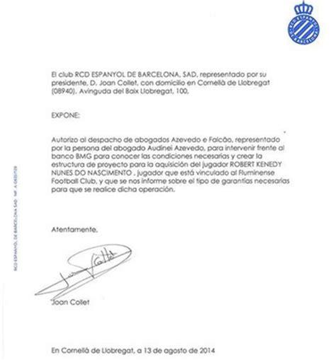 carta de autorizacion compartir informacion banesco interesa robert kenedy espanyol sport es
