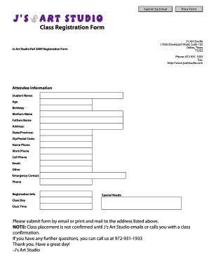 Registration Form Template Fill Out Print Download Online Forms Templates In Word Pdf Class Registration Template