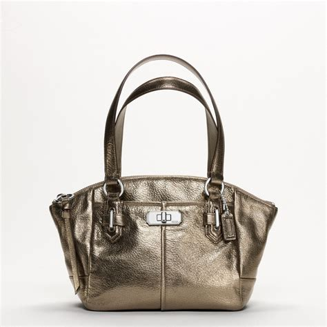 coach new chelsea metallic leather small bag all handbag