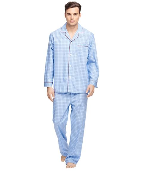 Pajamas Blue lyst brothers check pajamas in blue for