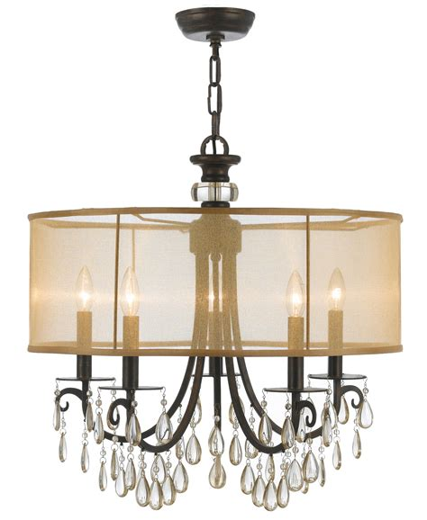Barrel Shade Chandelier Crystorama 5625 Eb Hton 5 Light Drum Shade Bronze Chandelier