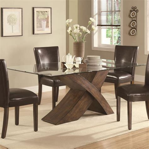 glass wood base dining table glass top dining tables with wood base dining tables ideas