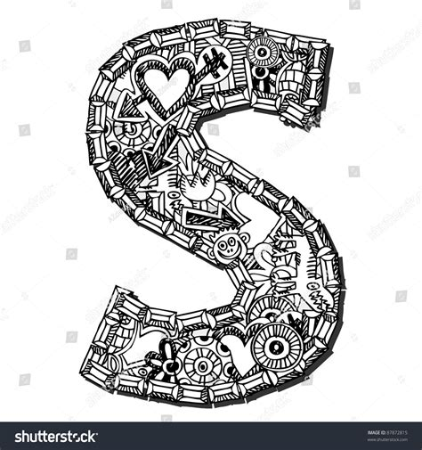 doodle for s childlike doodle abc letter s stock illustration