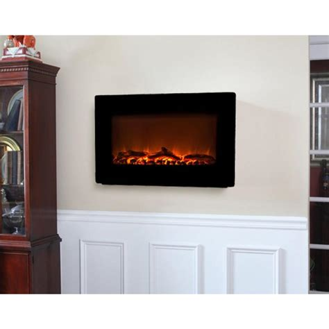 Home Depot Wall Fireplace by Sense 30 In Wall Mount Electric Fireplace In Black