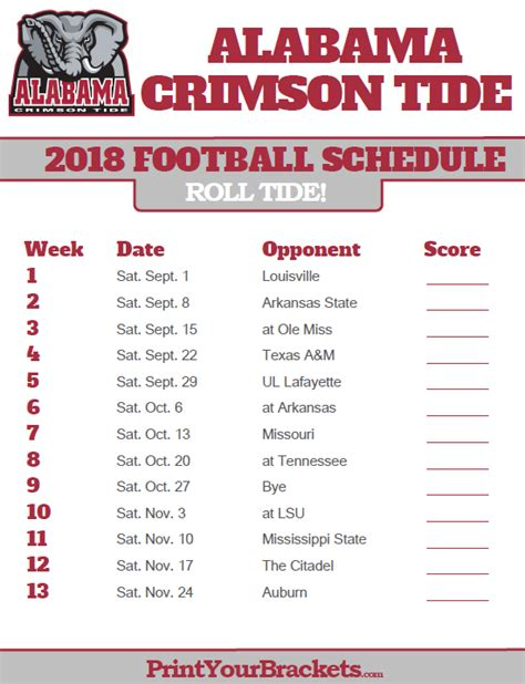 printable schedule for alabama football 2015 alabama crimson tide 2018 football schedule printable