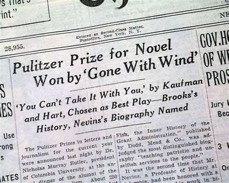 Pulitzer Prize For History Also Search For Quot With The Wind Quot Wins Pulitzer Prize Rarenewspapers