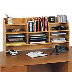 Desk Top Organizer Hutch Safco Radius Front Desktop Organizer With Clearance 16 Compartments 23 34 H X 47 12 W X 9 58 D