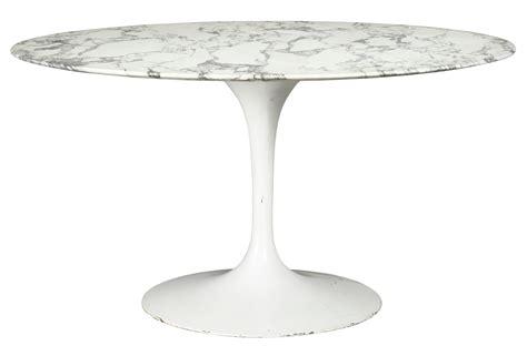 An Eero Saarinen Tulip White Marble Table Knoll Marble Tulip Table