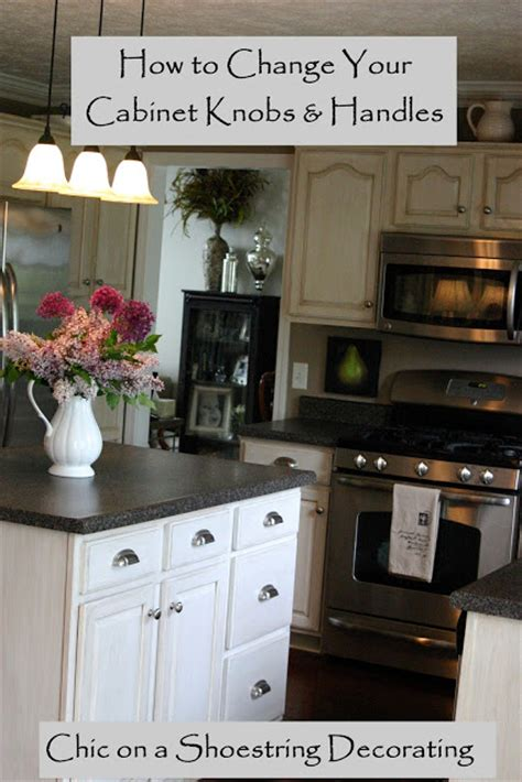 changing kitchen cabinets chic on a shoestring decorating how to change your kitchen cabinet knobs or handles