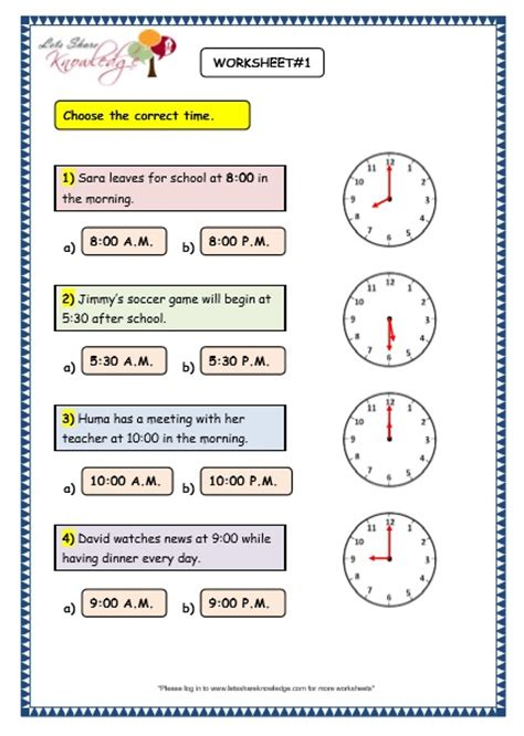 Am And Pm Worksheets by Grade 3 Maths Worksheets 8 4 Reading The Time In Am And