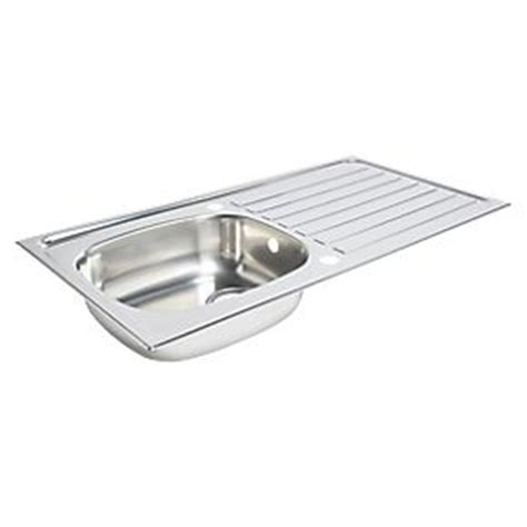 screwfix kitchen sinks kitchen sink drainer stainless steel 1 bowl 940 x 490mm