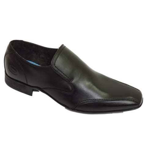 mens boys black base hollow mto leather slip on