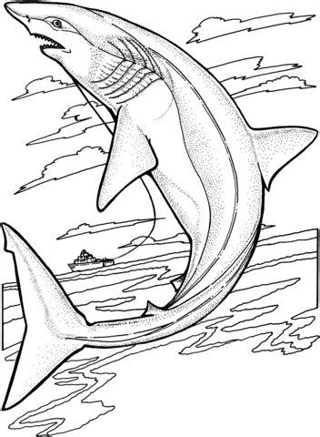 coloriage requin citron qui saute hors de l eau