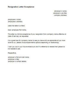 Resignation Acceptance Letter In Word Format Resignation Letter Acceptance Template Just Letter Templates
