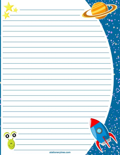 printable journal paper with picture space printable space stationery and writing paper free pdf