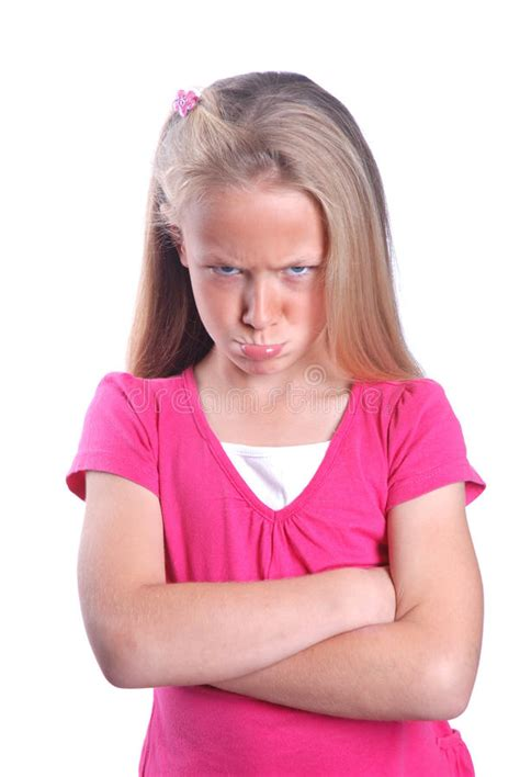 angry little girl in pink isolated on a white background angry little girl stock image image of arms mood pink