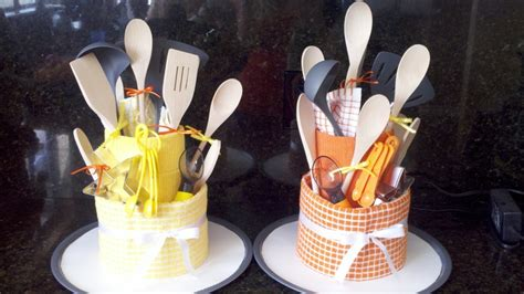 super cute kitchen gadget tower cake for bridal shower