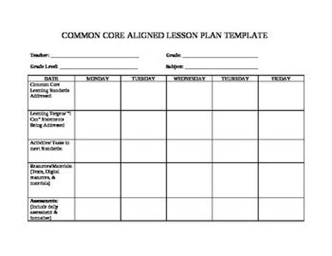 free and simple lesson plan template designed with common