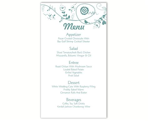 menu card template for word wedding menu template diy menu card template editable text