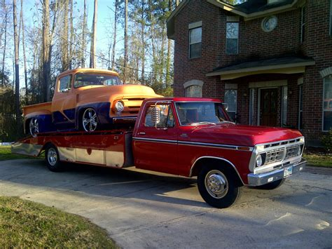 truck car ford 1977 ford f350 carhauler r truck hodges wedge flatbed