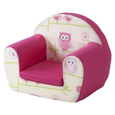 toddlers armchair owls twit twoo pink childrens kids comfy foam chair