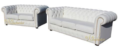 Chesterfield White Leather Sofa by Chesterfield 3 2 White Leather Sofa Offer Brass Studs
