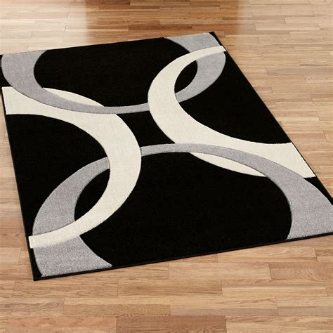 Area Rug Modern Corfu Contemporary Black Area Rugs