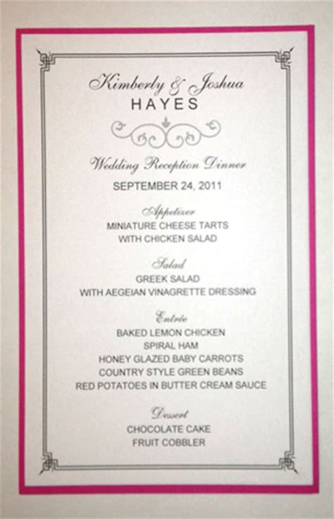 Half Sheet Wedding Menu Template 2 Wedding Menu Size Template