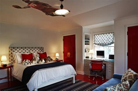 blue and red bedroom ideas built in desk contemporary boy s room kristen
