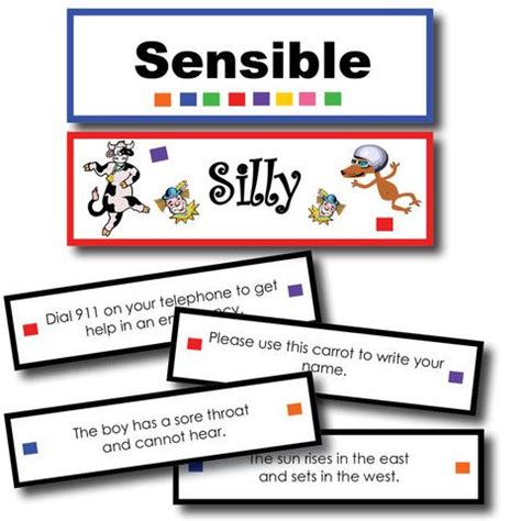 sentence patterns classroom games silly or sensible sentences sorting game sentences