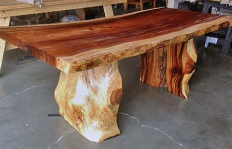 tree trunk bar top natural edge dining table with tree trunk legs 40 quot x 8 0