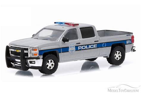 2015 Chevy Silverado Police, Gray Greenlight 42740E 1/64 Scale Diecast Model Toy Car