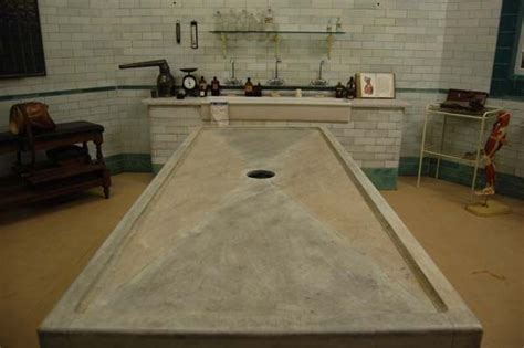 marbled mortuary table   morgue film set curious