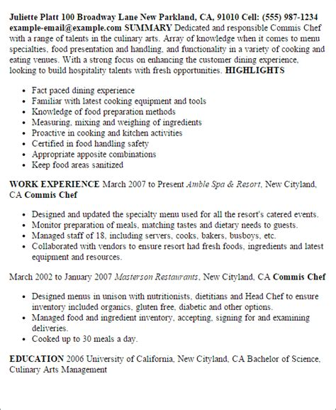sle cv for commis chef professional commis chef templates to showcase your talent