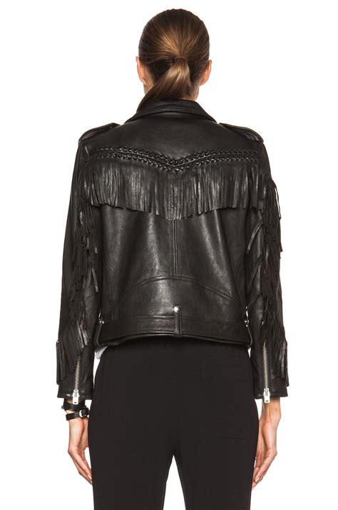 black leather jacket with fringe iro zerignola fringe leather jacket in black lyst