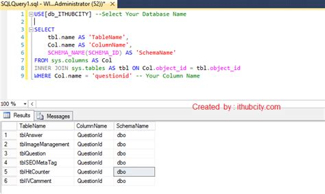 sql server find all tables with column sql server write a query to find all tables in a
