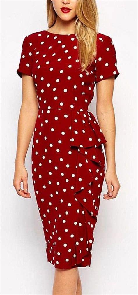 Midi Dress Polkadot Simple polka dot ruffle slim vintage midi dress polka dots ruffles and dots