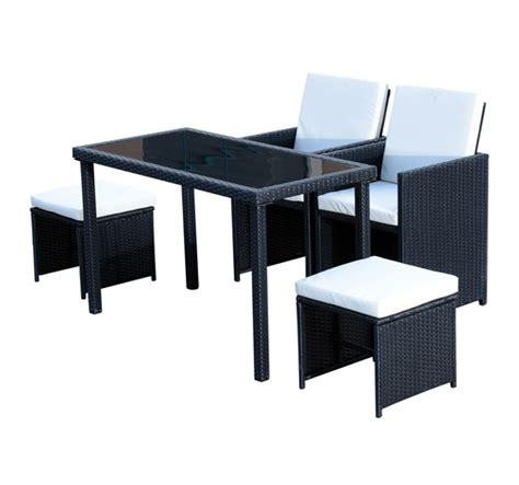 Space Saving Patio Furniture by 5pc Rattan Patio Furniture Set Outdoor Garden Table Ottomans Chairs Space Saving Ebay