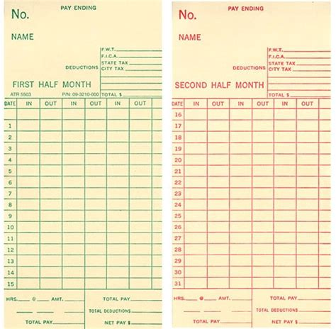 time punch card template time card office paper products horme singapore