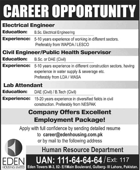housing provided jobs eden housing jobs lahore 2014 may for electrical civil