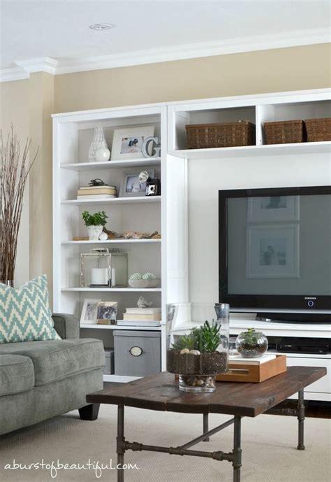living room tv shelves living room update beautiful and white shelves