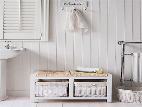 rattan bathroom storage white storage bench white