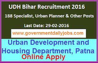 up housing and urban planning department bihar recruitment 2016 apply online for 188 urban planner other posts government