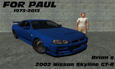 nissan skyline 2002 paul walker gta san andreas 2002 nissan skyline gt r r34 fast and