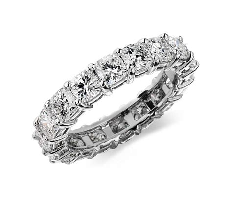 cushion cut eternity ring in platinum 4 ct tw