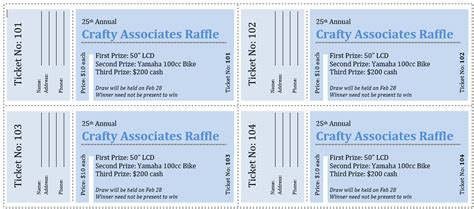 raffle ticket template 5 free printable templates word