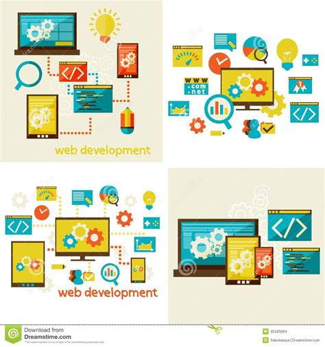 application design concepts for industrial applications set of flat design concept for web stock vector image