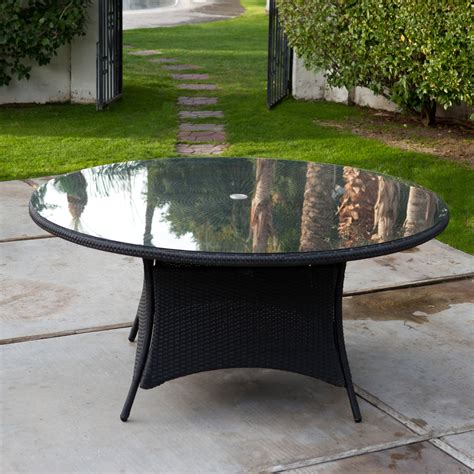 Wicker Patio Dining Table Belham Living Meridian 63 In Flat Wicker Patio Dining Table With Umbrella Patio